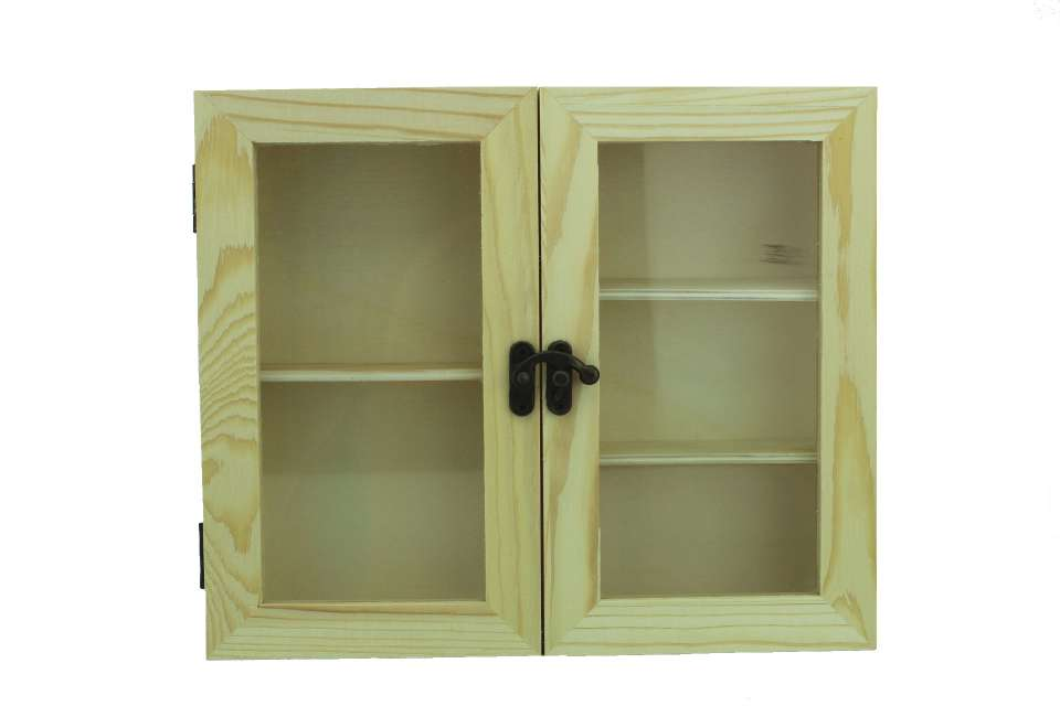 natur shopping sammlervitrine aus holz mit 2 glast ren. Black Bedroom Furniture Sets. Home Design Ideas